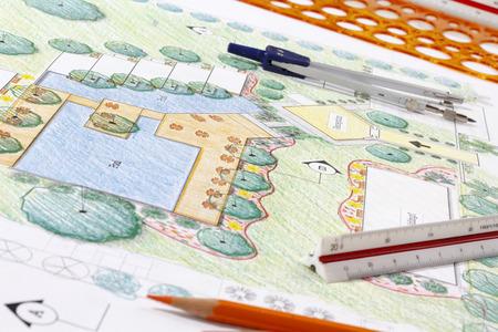 arbre paysage: Architecte paysagiste Plan de conception h�tel de vill�giature Banque d'images