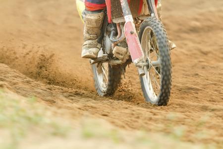 mx: Motocross racer accelerating speed in track