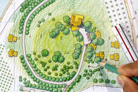 architect tools: Landscape Designs Blueprints For Resort.