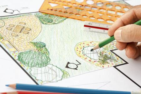 Landschaftsarchitekt Design Gartenplan Standard-Bild - 39543677