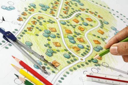 Landscape Design Blauwdrukken voor Resort. Stockfoto - 40056876
