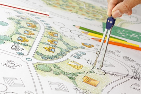 architectural plan: Landscape Designs Blueprints For Resort.