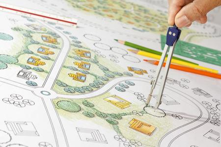 Paisaje Designs Blueprints Para Resort. Foto de archivo