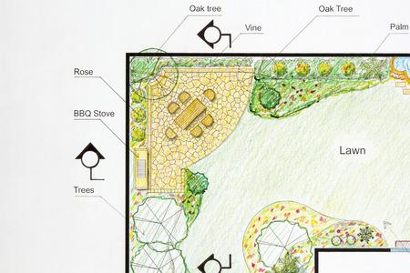 paisajista plan de diseño en forma de l jardín fotos, retratos