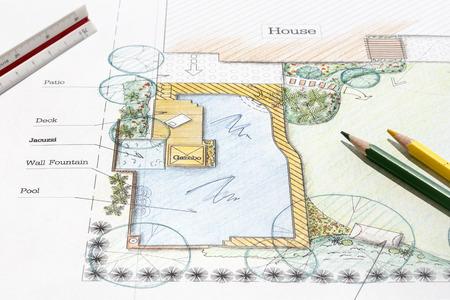 Landscape architect design backyard garden plan. 스톡 콘텐츠
