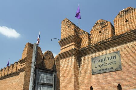historical architecture: THA PHAE GATE  historical architecture and tourist famouse place in downtown  chiangmai Thailnad.