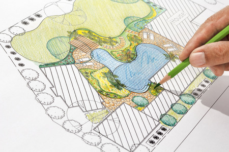 pond: Landscape architect design backyard plan for villa