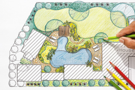 architectural plan: Landscape architect design backyard plan for villa