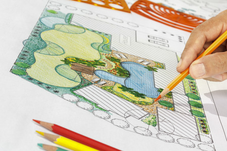 Landscape Architect Design Backyard Plan For Villa Stock Photo Cool Backyard Plans Designs