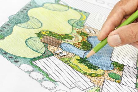 Landscape architect design backyard plan for villa Banco de Imagens - 44167781