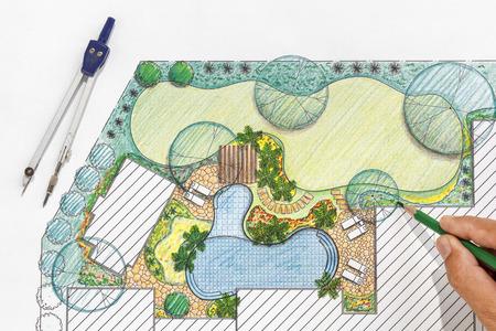 architect tools: Landscape architect design backyard plan for villa
