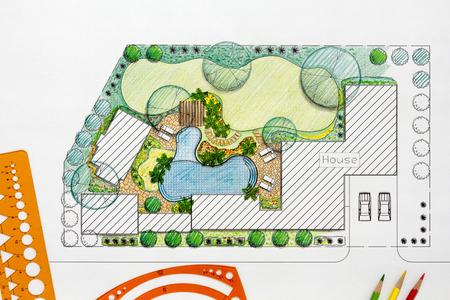 holiday villa: Landscape architect design backyard plan for villa