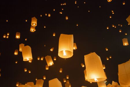 yeepeng: Floating asian lanterns in Yee-Peng festival ,Chiang Mai Thailand Stock Photo
