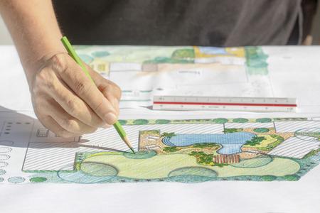 industrial landscape: Architetto paesaggista Piano di sviluppo cortile per villa Archivio Fotografico