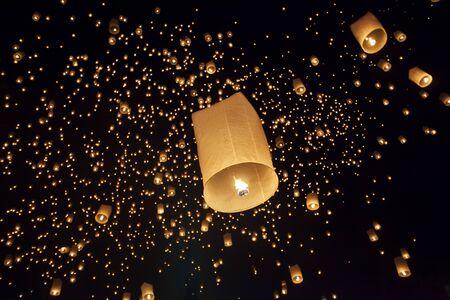 yeepeng: Floating asian lanterns in Yee-Peng festival ,Chiang Mai Thailand Stock Photo