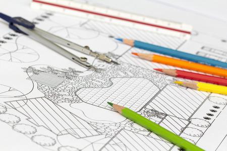 planificacion: Paisajista plan de diseño del patio trasero de casa