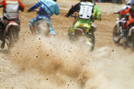 motocross: Dirt debris from a motocross race Stock Photo