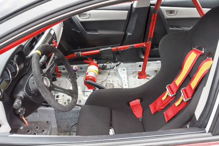 cars race: Interior of touring car for racing on race circuits Stock Photo