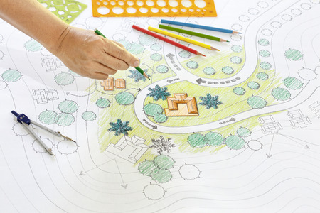 architect drawing: Landscape architect  drawing plan for resort. Stock Photo