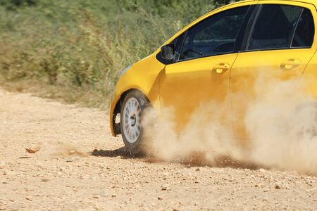 rally car: Rally car in dirt track