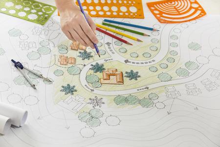 plan: Landscape architect design plan for resort.