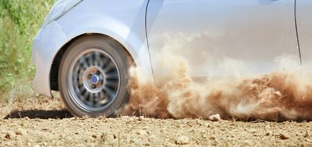 racing track: Rally car in dirt track