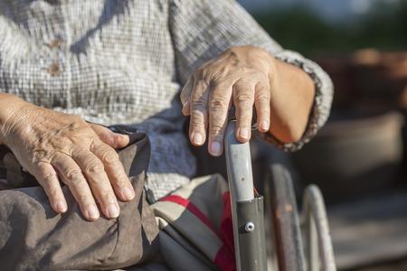 wheel chair: Elderly woman travel with wheelchair Stock Photo