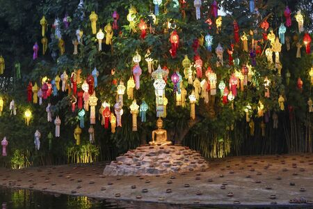 yeepeng: Yee-Peng lanterns on Bodhi tree in  Phan Tao Temple, Chiangmai, Thailand. Stock Photo