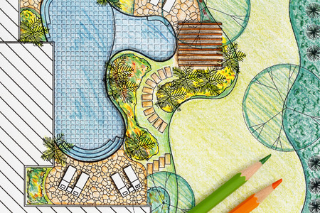 garden pond: Landscape architect design backyard plan for villa