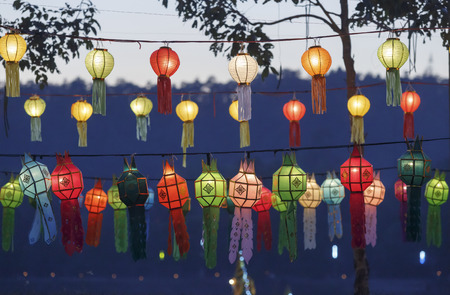 yeepeng: lanterns in Yee-Peng festival , Chiang mai ,Thailand. Stock Photo