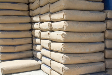 cement bags stacked in warehouse