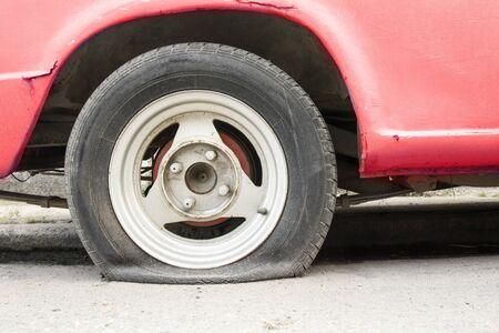 flat tire: Car flat tire waiting help.