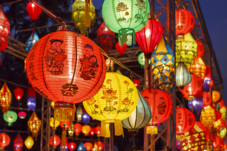 Asian lanterns in international lantern festival Standard-Bild