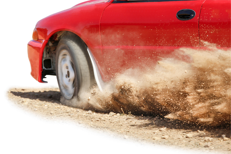 Rally Car speed in track Stock Photo