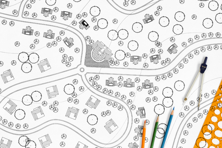 arquitecto: Arquitecto Paisajista Diseño Blueprint Para Resort. Foto de archivo