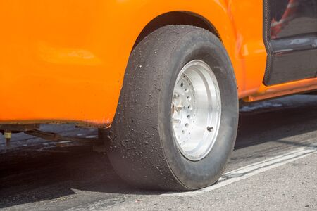 drag: Slick tyre for drag racing car Stock Photo