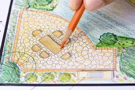 site: Landscape architect design garden plan Stock Photo