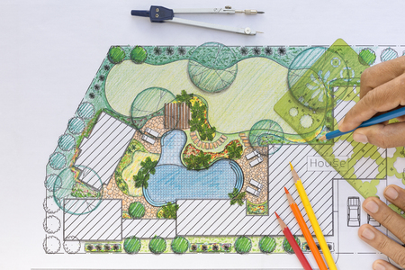 garden: Landscape architect design backyard plan for villa