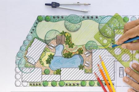 krajobraz: Projekt planu architekt krajobrazu podwórku dla willi Zdjęcie Seryjne