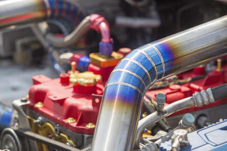 Tig welded seam on stainless steel pipe in racing car Stock Photo