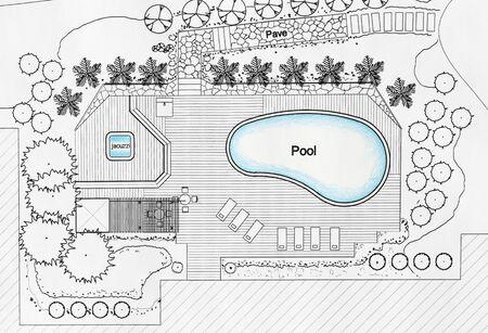 Landscape Architect Designs Backyard Plan with Pool For Luxury Villa. Stock Photo