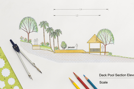 architectural drawing: Architecture design Deck pool section elevation for luxury home.
