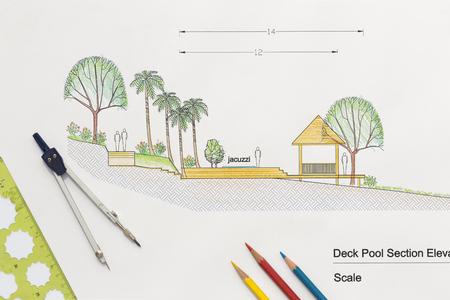 dessin: Conception d'architecture de plate-forme section piscine élévation pour la maison de luxe. Banque d'images