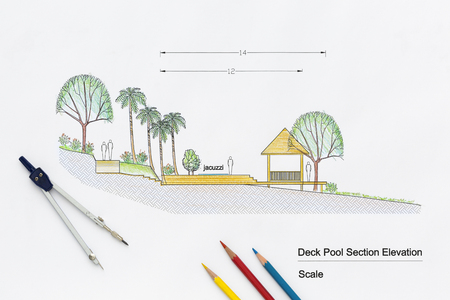 elevation: Architecture design Deck pool section elevation for luxury home.