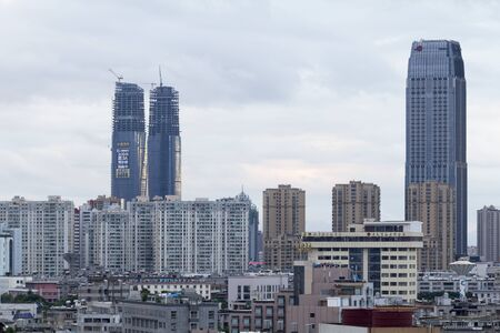 horizental: KUNMING, CHINA - JUN 28: Cityscape and building in downtown Kunming, China on June 28, 2015. Kunming is capital of Yunnan province most famous city of southwest china.