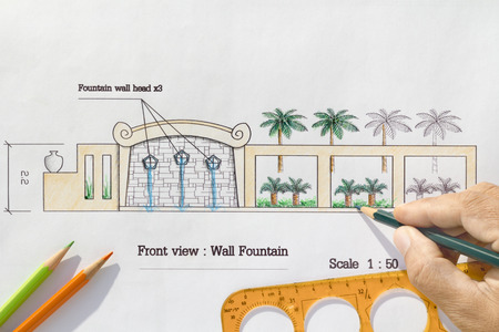 asian architect: Landscape Architect design Modern wall fountain in asian style