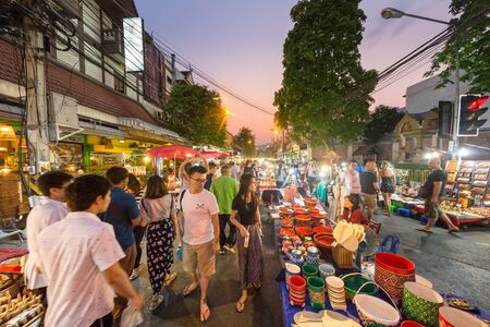 sunday market: CHIANG MAI THAILAND - MAY 8 : Sunday market walking street, The city center Thai temple marketing and trading of local tourists come to buy souvenirs. on May 8, 2016 in Chiang Mai, Thailand.
