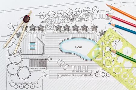 landscape garden: Landscape Architect Designs Backyard Plan with Pool For Luxury Villa. Stock Photo