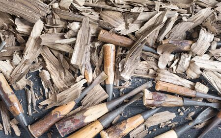Chisel wood carving Stock Photo