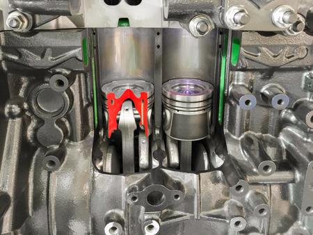 Diesel Engine piston doorsnede, weer te geven binnen materialen. Stockfoto